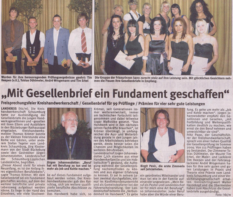 Freisprechung Kreishandwerkerschaft 8-2009 Wochenblatt