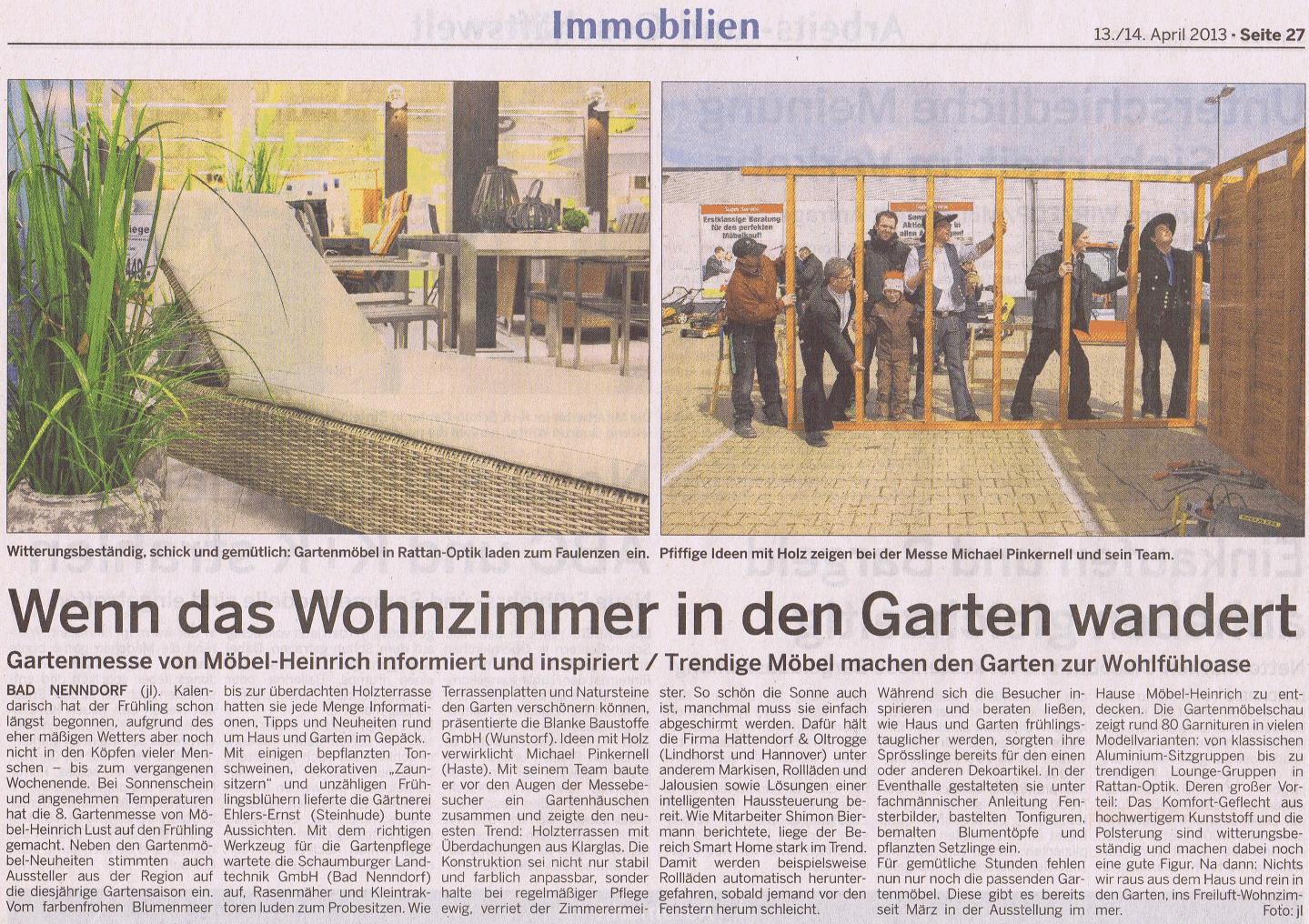 Gartenmesse Möbel Heinrich 2013